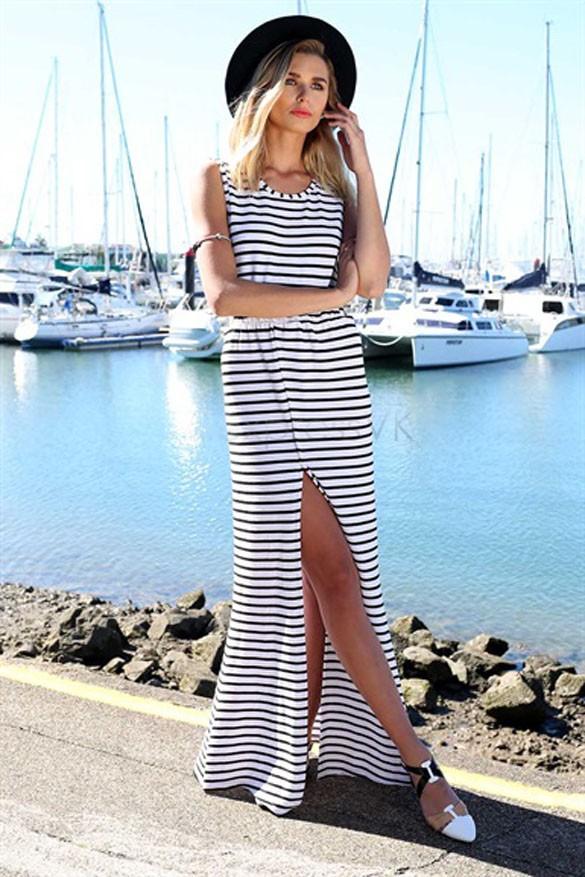 robe longue à rayures1